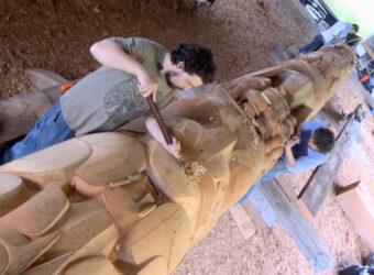 Totem Pole Raised on West Coast